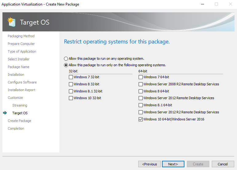 Windows 10 Server 16 Target OS
