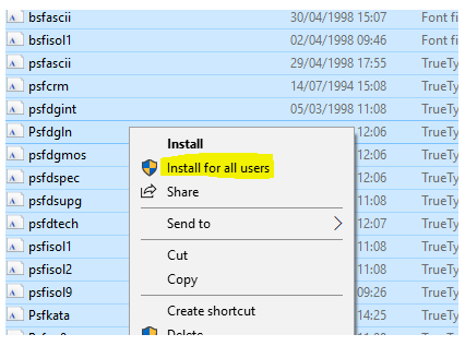 Install Fonts for All Users